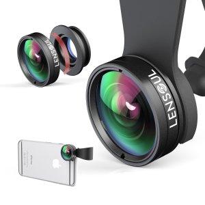 $10 iPhone Lens LENSOUL Fisheye, Wide Angle, Macro Lens, 3 in 1 Clip on Cell Phone Camera Lens Lens Kit