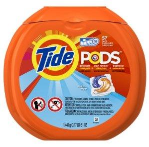 $10 Tide PODS Ocean Mist HE Turbo Laundry Detergent Pacs 57-load Tub