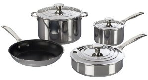 $600Le Cresuset 7-PIECE STAINLESS STEEL SET
