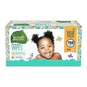 $17Seventh Generation Thick & Strong Baby Wipes, Free & Clear with Flip Top Dispenser, 768 count