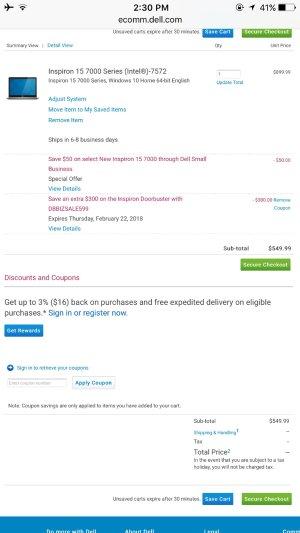 $549.99原价$899.99 Dell Inspiron 15 7000笔记本电脑 免运费