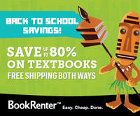 Up to 80% Off + Extra 5-10% Off TextBook Rentalat BookRenter.com