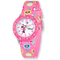 $23Disney Kids Minnie Mouse Printed Fabric Band Time Teacher Watch