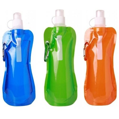 $43-Pack BPA Free 16oz Collapsible Water Bottle With Carabiner Clip