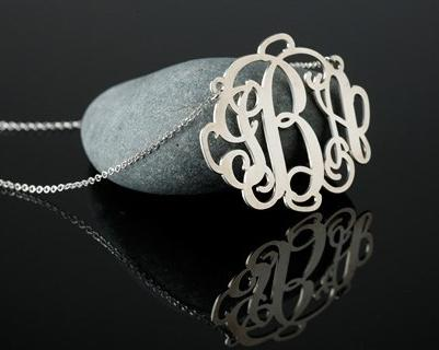 $36Sterling Silver or 18 kt. Gold Plated Monogram Necklace
