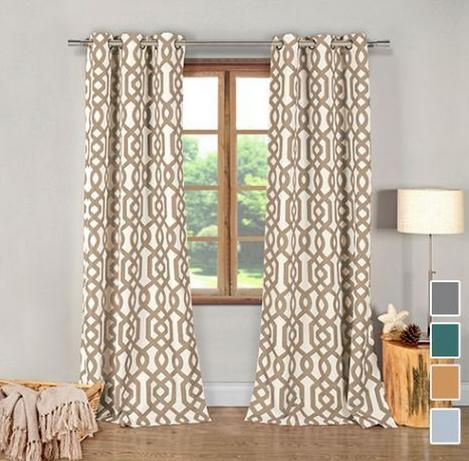 $202 Pack of Designer Geometric Window Panel Curtains