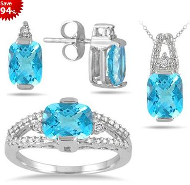 $295.75 Carat Genuine Swiss Blue Topaz and Diamond Matching Ensemble in .925 Sterling Silver