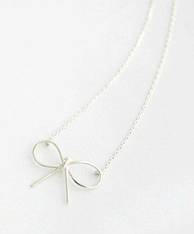 $5Delicate Ribbon Necklace
