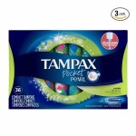 Tampax Pocket Pearl Plastic Tampons, Super Absorbency, Unscented,36 Count (Pack of 3)