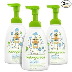$11Babyganics Foaming Dish and Bottle Soap, Fragrance Free, 16oz Pump Bottle (Pack of 3)