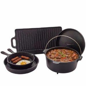 5件套$39.99+包邮Outdoor Gourmet 铸铁锅、烤盘、平底煎锅5件套