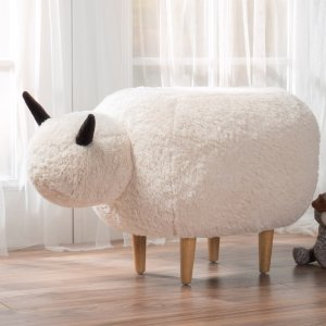 $52Pearcy Velvet Sheep Ottoman by Christopher Knight Home