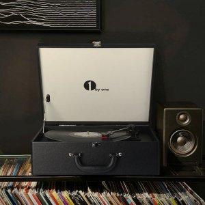 $87.99复古怀旧: 1byone 3速便携黑胶唱机 带扬声器 黑色