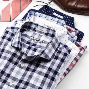 $20.5收英伦风纯棉衬衣仅限今日:Express 男士职场穿搭合集 折扣区额外5折