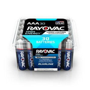 $5Rayovac High Energy Alkaline AAA/1.5 Volt Battery (30-Pack)