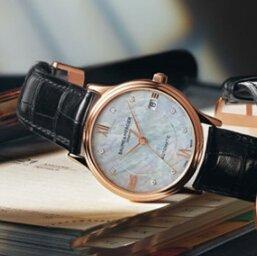 $1948 (原价$5700) 国内公价4W6史低价:Baume and Mercier Classima Executives 系列18K 玫瑰金镶钻珍珠母贝机械女表