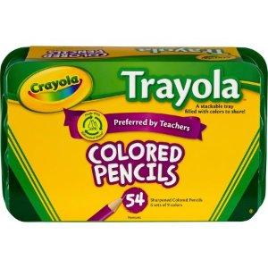 $6.39 (原价$10.99)Crayola 54 支 Trayola 彩色木质铅笔,带塑料收纳盒