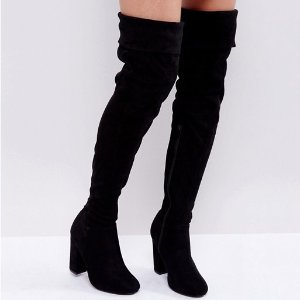 $24Truffle Collection Block Heel Over Knee Boots
