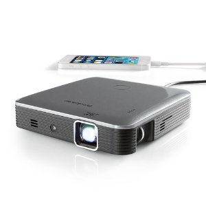 $199Brookstone Pocket Projector Pro DLP 200 Lumens with IntelliBright Technology