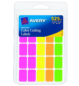 $1Avery Removable Color Coding Labels, Rectangular, Assorted Colors, Pack of 525 (6721)