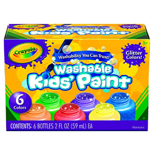 $3Crayola Washable Glitter Paint Great for Classroom Projects, 6 Count