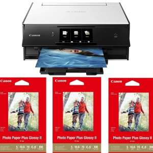 $47Canon PIXMA TS9020 Wireless All-in-One Inkjet Printer with 3x Photo Paper Plus