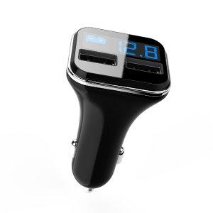$3.99 (原价$12.99) 黑白2色可选历史新低!ARCHEER 4.8A 车载LCD数字式 双口智能 USB充电器