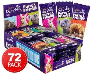 $27.99(原价$54.95)Cadbury 吉百利 Furry Friends系列牛奶巧克力 72块装