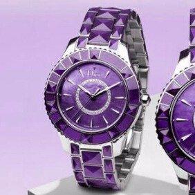 $1495(原价$5,775.00)DIOR 新款紫色蓝宝石水晶镶钻奢华时装女表