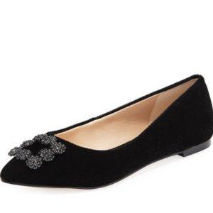 2双$105.00史低价:Karl Lagerfeld 钻扣平底鞋热卖,MB钻扣平价款
