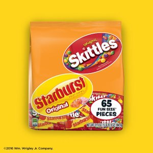$7.96Skittles and Starburst Original Candy Bag, 65 Fun Size Pieces, 31.9 ounces