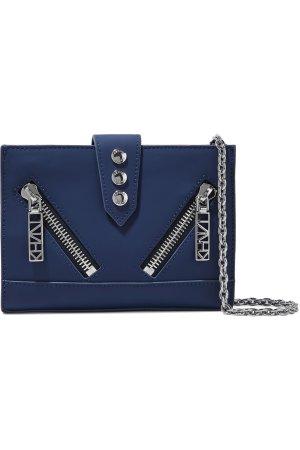$146KENZO Zip-detailed leather shoulder bag